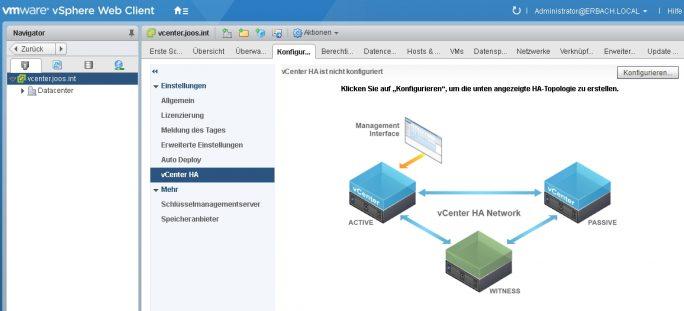 Die vCenter Appliance bietet eine Hochverfügbarkeit, die sich getrennt von der restlichen Umgebung steuern lässt (Screenshot: Thomas Joos).