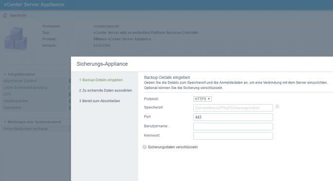 Die vCenter Appliance 6.5 verfügt über ein eigenes Sicherungsprogramm (Screenshot: Thomas Joos).