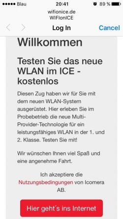 Anmeldeseite des Test-WLANs der Deutschen Bahn (Screenshot: Avast)
