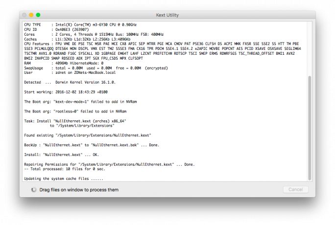 KextUtility. NullEthernet.kext installieren (Bild: ZDNet.de)
