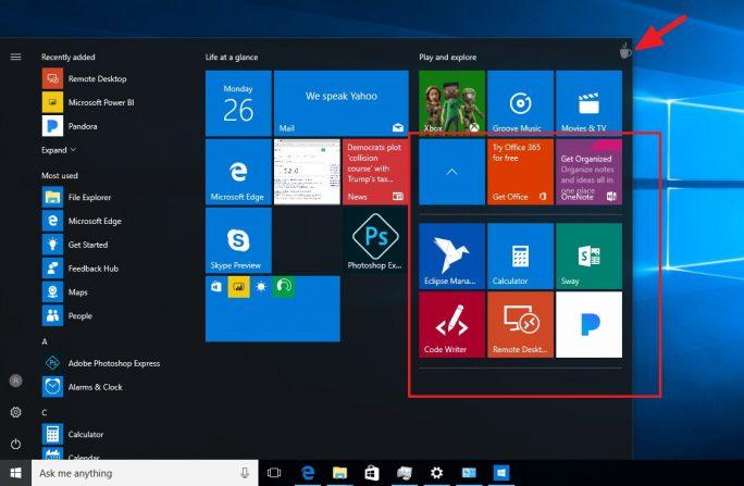 Windows 10 Build 14997: Das Startmenü erlaubt das Erstellen von Ordnern (Bild: Windows Central)