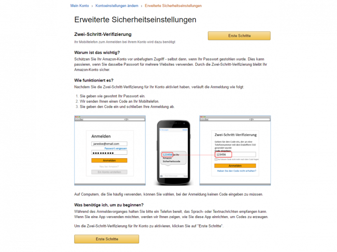 Amazon Zwei-Faktor-Authentifizierung (Screenshot: ZDNet.de)
