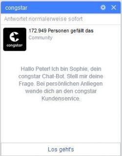 Funktioniert: Die persönliche Ansprache beim Congstar-Bot auf Facebook (Screenshot: silicon.de</strong>)