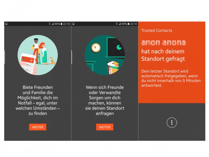 Vertrauenswürdige Kontakte haben in Notfällen Zugriff auf den Standort eines Nutzers (Screenshot: ZDNet.de).
