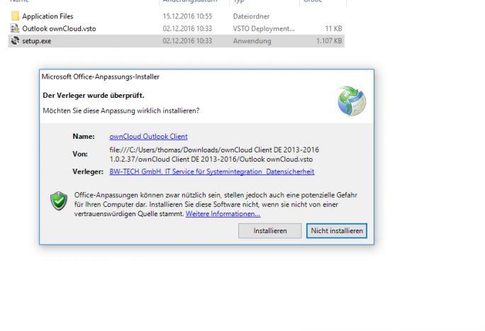 Das Outlook-Plug-in für ownCloud wird über eine eigene Installationsdatei eingebunden (Screenshot: Thomas Joos).