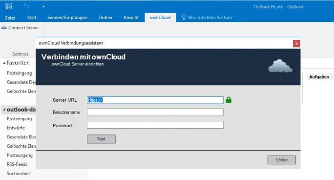 Outlook-Plug-in für ownCloud: Nach der Installation finden Anwender in Outlook den neuen Menüpunkt für ownCloud. Über diesen erfolgt die Anbindung an einen ownCloud-Server (Screenshot: Thomas Joos).