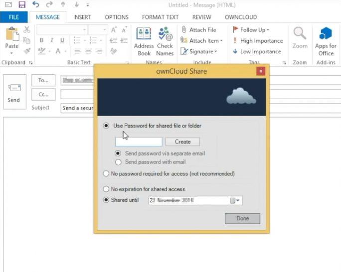 Anhänge lassen sich mit dem Outlook-Plugin für ownCloud auch verschlüsselt versenden (Screenshot: Thomas Joos).