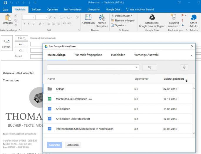 Mit dem Office-Plugin für Google Drive lassen sich ähnliche Funktionen nutzen, wie beim Outlook-Plugin für ownCloud (Screenshot: Thomas Joos).