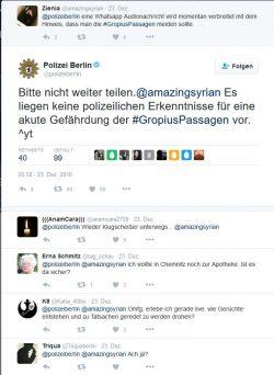 Die Berliner Polizei dementierte die per WhatsApp verbreitete, frei erfundene Meldung des nun Verhafteten am 23. Dezember bei Twitter sofort (Screenshot: silicon.de)