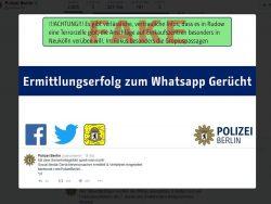 Berliner Polizei teilt Ermittlungserfolg gegen Urheber von WhatsApp-Gerücht mit (Screenshot: silicon.de)