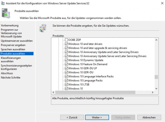 In den Optionen von WSUS stehen verschiedene Menüpunkte zur Einbindung von Windows 10-Updates zur Verfügung (Screenshot: Thomas Joos).