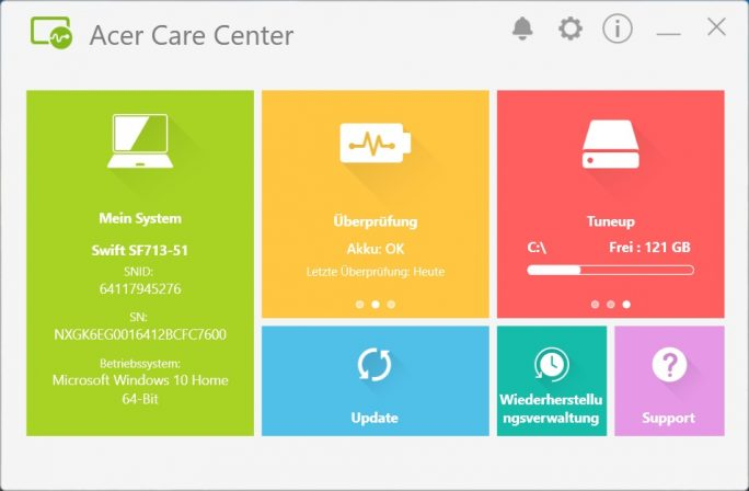 Acer Care Center (Screenshot: ZDNet.de)