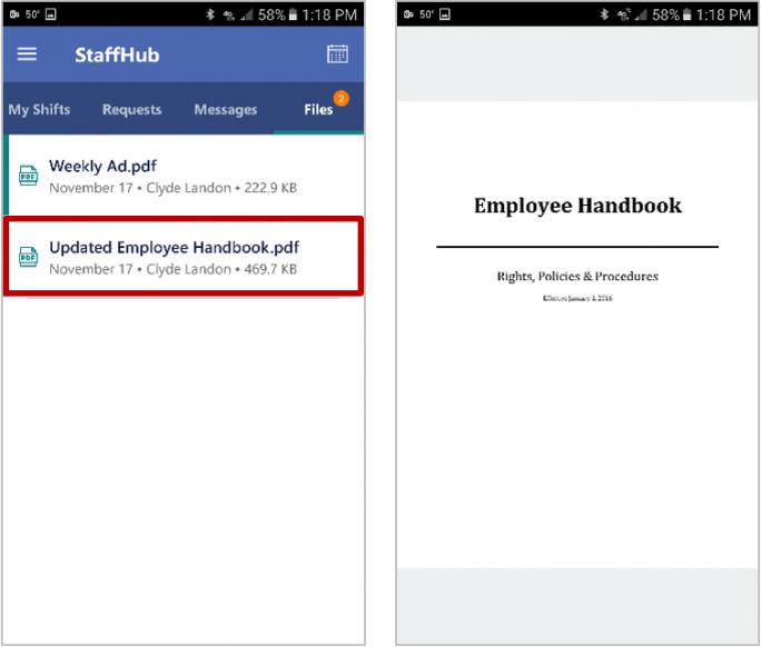 Mitarbeiter können über StaffHub Informationen angezeigt bekommen. (Bild: Microsoft)