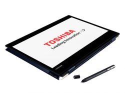 Das Toshiba Portégé X20W-D im Tabletmodus und mit mitgeliefertem Stylus (Bild: Toshiba)