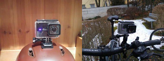 YI 4K: Montage Skihelm und Fahrrad (Bild: ZDNet.de)