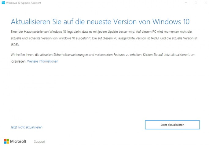 Mit dem Windows 10-Update-Assistent können Sie Windows 10 zum Creators Update aktualisieren (Screenshot: Thomas Joos).
