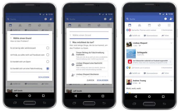 Kennzeichnung eines Facebook-Beitrags als Fake News (Bild: Facebook)