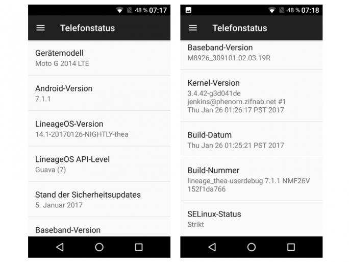 LineageOS bringt Android 7.1.1 auf ältere Geräte wie das Motorola Moto G 2014 LTE, die vom Hersteller schon lange nicht mehr mit aktuellen OS-Versionen und Sicherheitspatches versorgt werden (Screenshot: ZDNet.de).