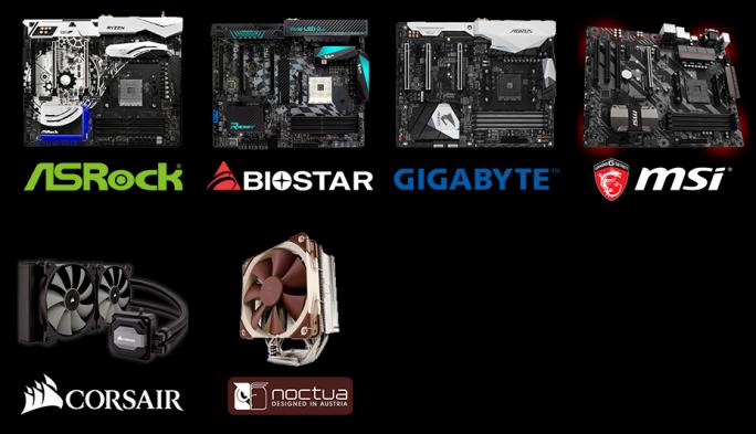 Mainboards und Kühler für den Ryzen-Prozessor (Bild: AMD)