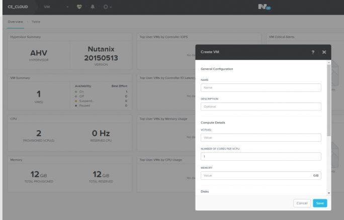 Die Verwaltung von Nutanix Acropolis erfolgt mit der HTML5-basierten-Oberfläche Prism (Screenshot: Thomas Joos)