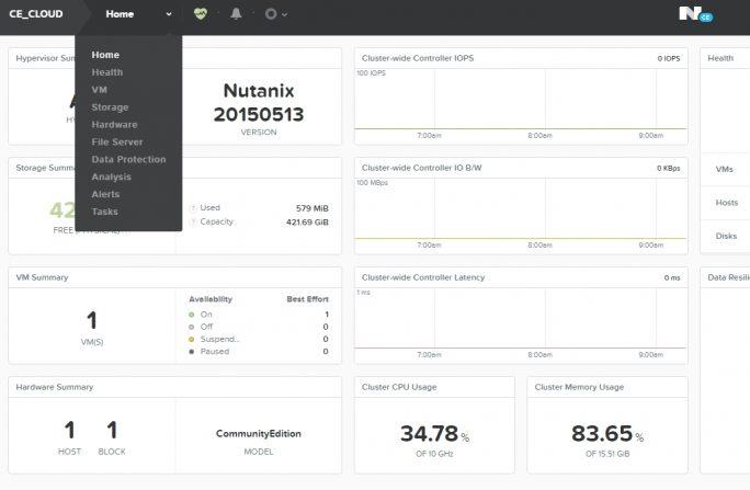 In der Weboberfläche wird Nutanix Acropolis verwaltet (Screenshot: Thomas Joos).