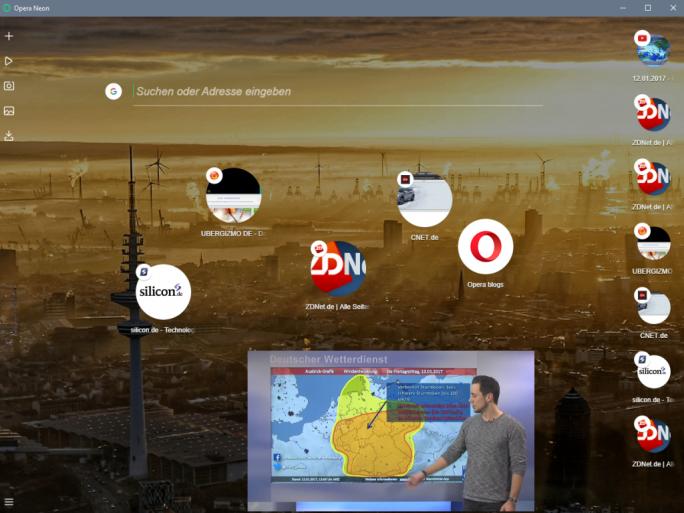 Opera stellt bei seinem Browser Neon ein neues Bedienkonzept in den Mittelpunkt (Screenshot: ZDNet.de).