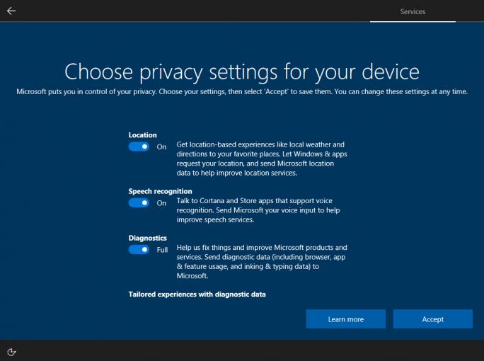 Windows 10 Creators Update Build 15019 zeigt erstmals die neuen Datenschutzeinstellungen während der Ersteinrichtung des Betriebssystems (Bild: Microsoft).