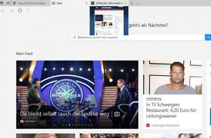 Microsoft Edge zeigt eine Vorschau von Tabs im Fenster an (Screenshot: Thomas Joos).
