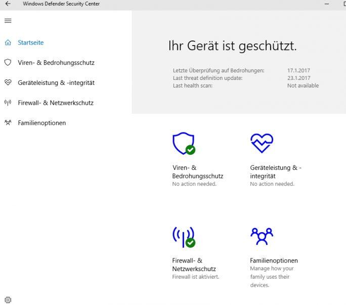 Das neue Windows Defender Security Center erlaubt die zentrale Verwaltung wichtiger Sicherheitseinstellungen (Screenshot: Thomas Joos).