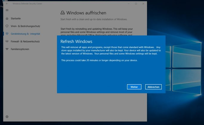 Mit dem Windows Defender Security Center können Anwender ihren PC wiederherstellen (Screenshot: Thomas Joos).