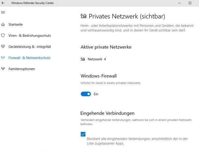 Im Windows Defender Security Center lassen sich auch Sicherheitseinstellungen bezüglich der Windows-Firewall vornehmen (Screenshot: Thomas Joos).