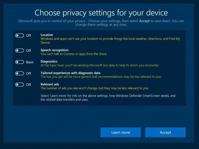 Das neue Datenschutz-Setup informiert auch über die Folgen, die die Deaktivierung einzelner Punkte hat (Screenshot: Microsoft).