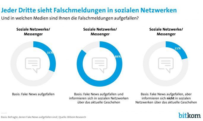 Wahrnehmung von Fake-News bei deutschen Internetnutzern (Grafik: Bitkom)