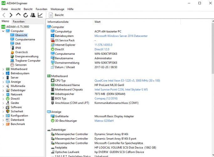 HPE ProLIant ML30 Gen 9 verfügt über aktuelle Hardware (Screenshot: Thomas Joos).