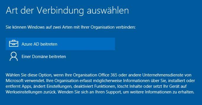 Windows 10 lässt sich während der Installation direkt mit Azure Active Directory verbinden (Screenshot: Thomas Joos).