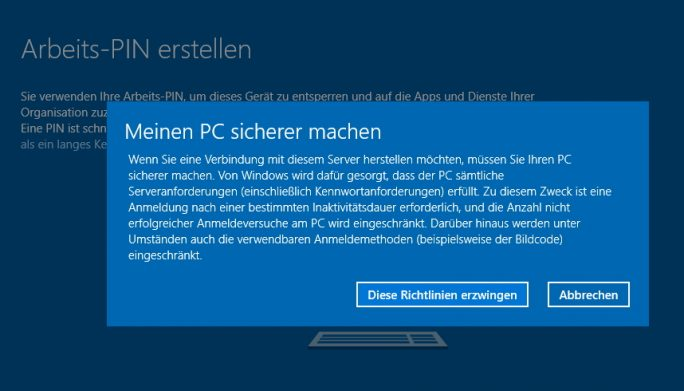 Sind in Microsoft Azure oder Office 365 Richtlinien hinterlegt, dann wendet Windows 10 die Einstellungen der Richtlinien an, zum Beispiel für die Verwendung von sicheren Kennwörtern (Screenshot: Thomas Joos).