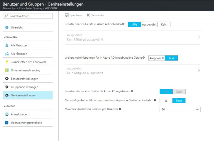 Im Webportal von Microsoft Azure Active Directory lässt sich festlegen, ob Benutzer eigene Rechner mit Windows 10 Enterprise an Azure Active Directory anbinden dürfen (Screenshot: Thomas Joos).