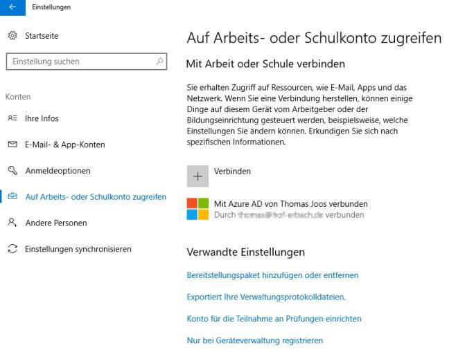 In den Einstellungen von Windows 10 kann die Verbindung mit Azure AD überprüft oder hergestellt werden. Auch das Entfernen aus Azure Active Directory ist hier möglich (Screenshot: Thomas Joos).