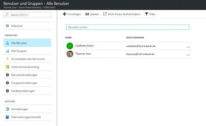 Das Anlegen von neuen Benutzerkonten erfolgt im Webportal von Azure AD (Screenshot: Thomas Joos).
