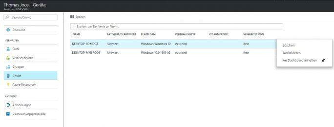 Im Webportal sind die einzelnen PCs zu sehen, die Anwender an Microsoft Azure angebunden haben (Screenshot: Thomas Joos).
