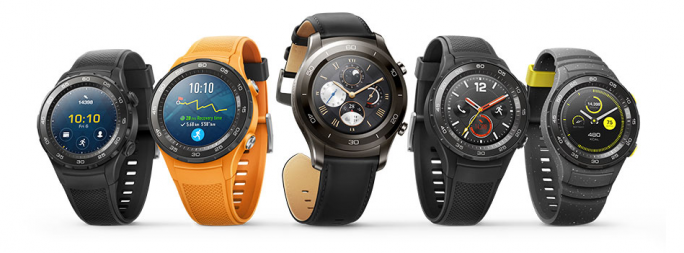 Huawei Watch 2 in Carbon Black, Dynamic Orange, Titanium Gray, Carbon Black und Concrete Gray (Bild: Huawei).