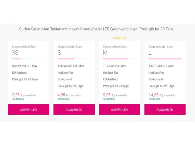 Die aktuellen Prepaid-Tarife bei der Telekom (Screenshot: ZDNet.de)