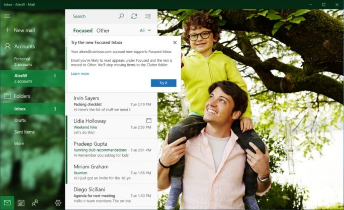 Der Posteingang mit Fokus sortiert Nachrichten nach Relevanz vor (Bild: Microsoft).