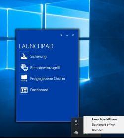 Mit dem Agenten und dem dazugehörigen Launchpad können Anwender auf die Daten des Servers zugreifen, und den eigenen Rechner auf dem Server sichern (Screenshot: Thomas Joos).