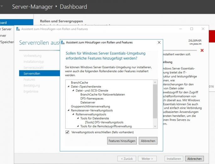 Windows Server 2016 Essentials ist auch als Serverrolle in der Standard- und Datacenter-Edition von Windows Server 2916 verfügbar (Screenshot: Thomas Joos).