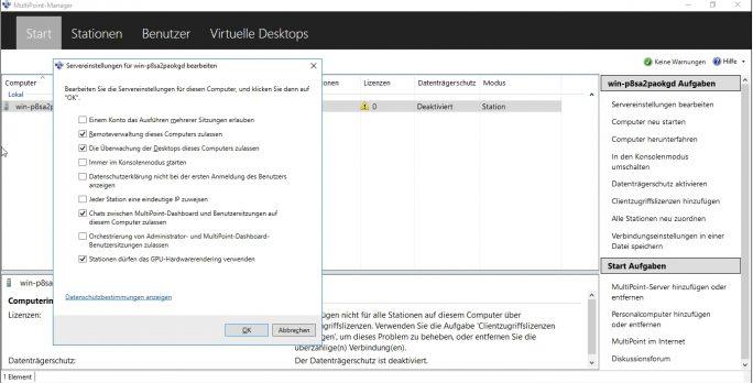 Die MultiPoint Services verfügen über ein eigenes Verwaltungstool, genauso wie Windows Server 2016 Essentials (Screenshot: Thomas Joos).