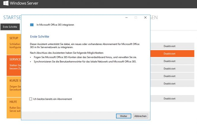 Über Assistenten lassen sich Server mit Windows Server 2016 Essentials direkt mit Office 365 verbinden (Screenshot: Thomas Joos).
