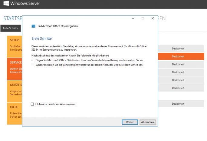 Über Assistenten lassen sich Server mit Windows Server 2016 Essentials direkt mit Office 365 verbinden (Screenshot: Thomas Joos).