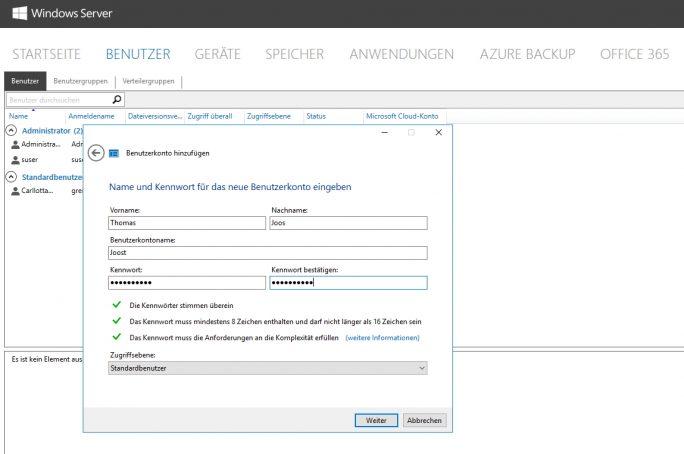 Das Anlegen und Verwalten der Benutzer erfolgt in einem eigenen Bereich des Dashboards über einen Assistenten (Screenshot: Thomas Joos).