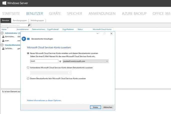 Über den Assistenten zum Anlegen von neuen Benutzern lassen sich auch Benutzer an Office 365 anbinden (Screenshot: Thomas Joos).